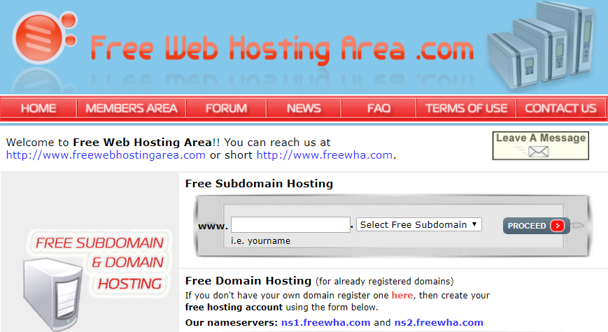 Freewebhostingarea web hosting