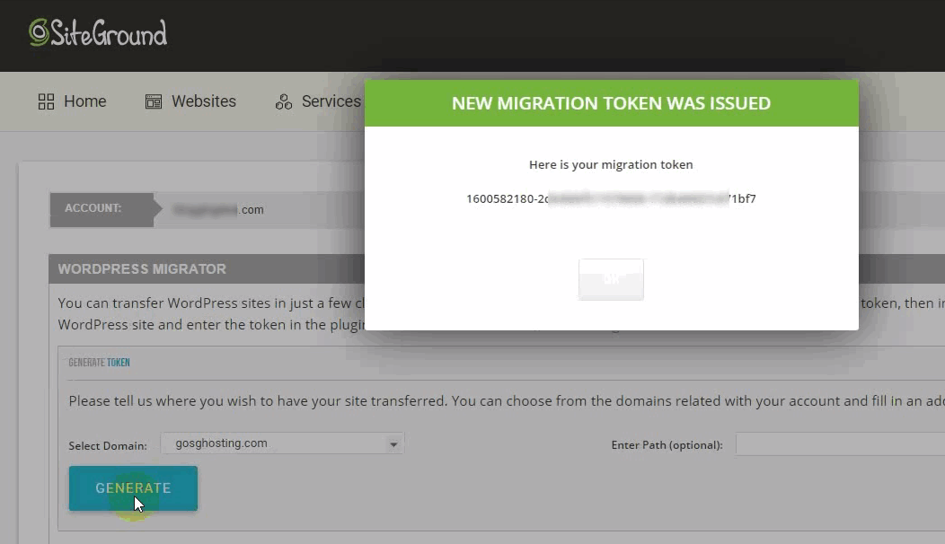 issued migration token