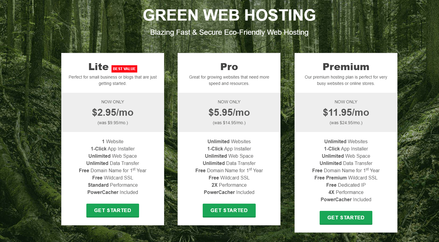 web hosting pans and pricing
