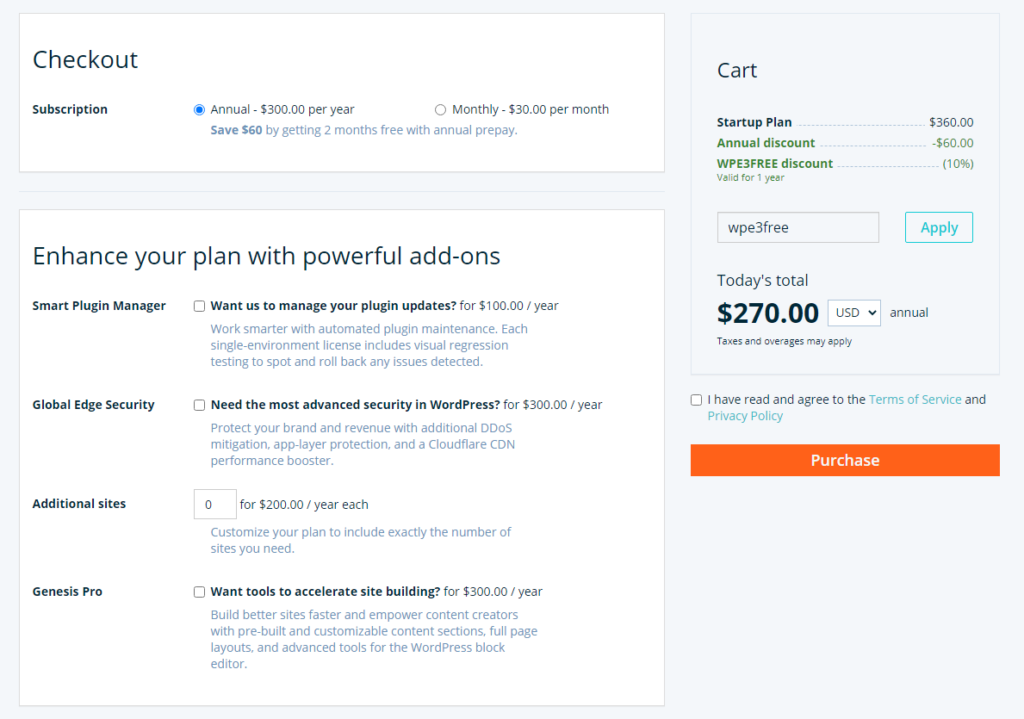 checkout page of WPEngine with discount