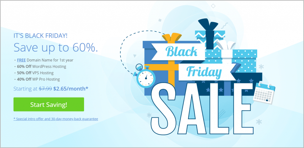bluehost black friday sale homepage